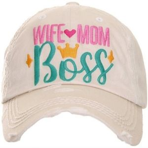 NWT Wife Mom Boss Distressed Baseball Cap